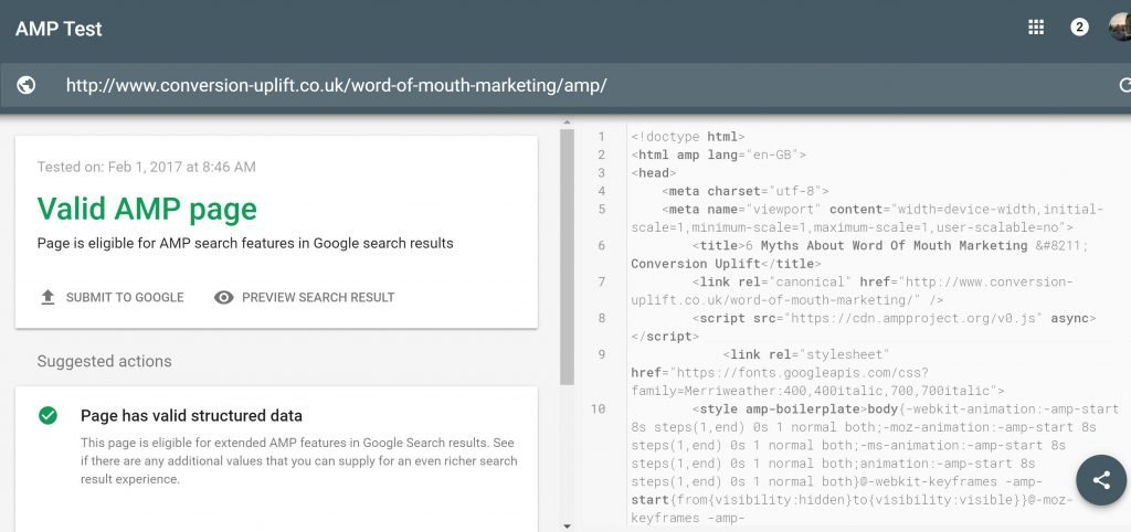 Image of Accelerated Mobile Page test in Search Console