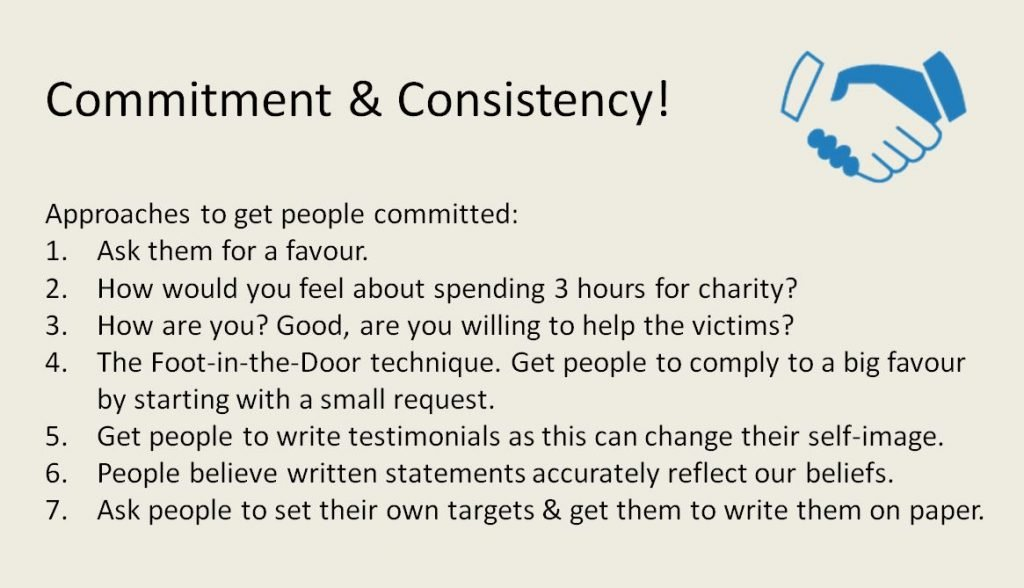 Commitment and consistency is one of the most powerful methods of social influence to help conversion optimisation