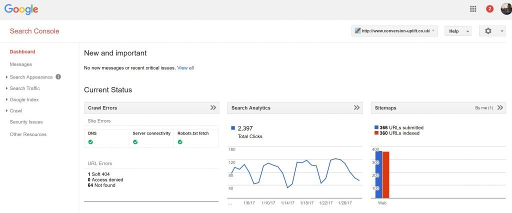 Image of Google Search Console Dashboard