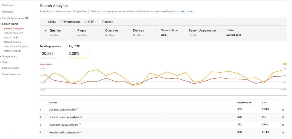 Image of Search Analytics in Search Console