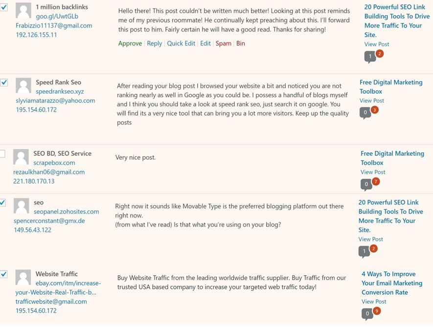 Image of comments on blog from SEO scam companies