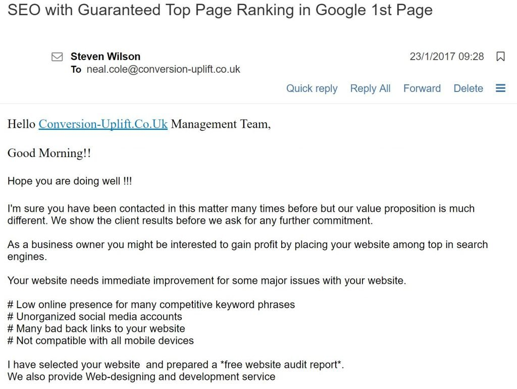 Image of email from SEO scam agency offering guaranteed top of Google