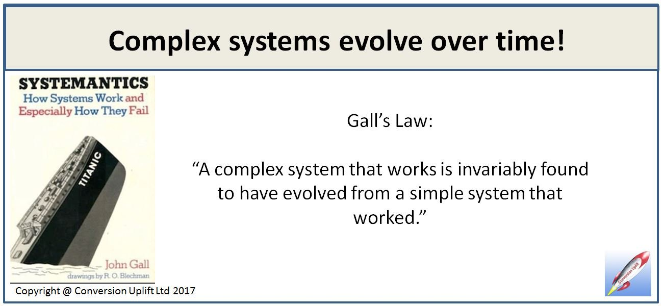 Gall's Law tells us that complex systems evolve from simple systems that worked