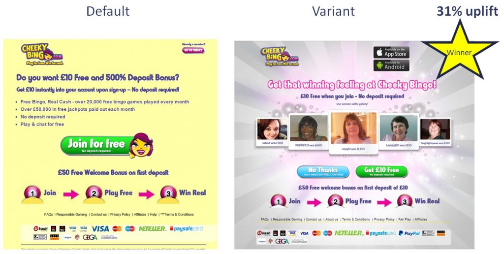 Image of innovation test for Cheekybingo.com which achieved a 31% uplift in registration conversion