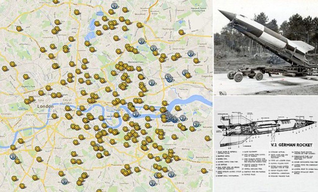 Map of V-2 rocket impact sites around London