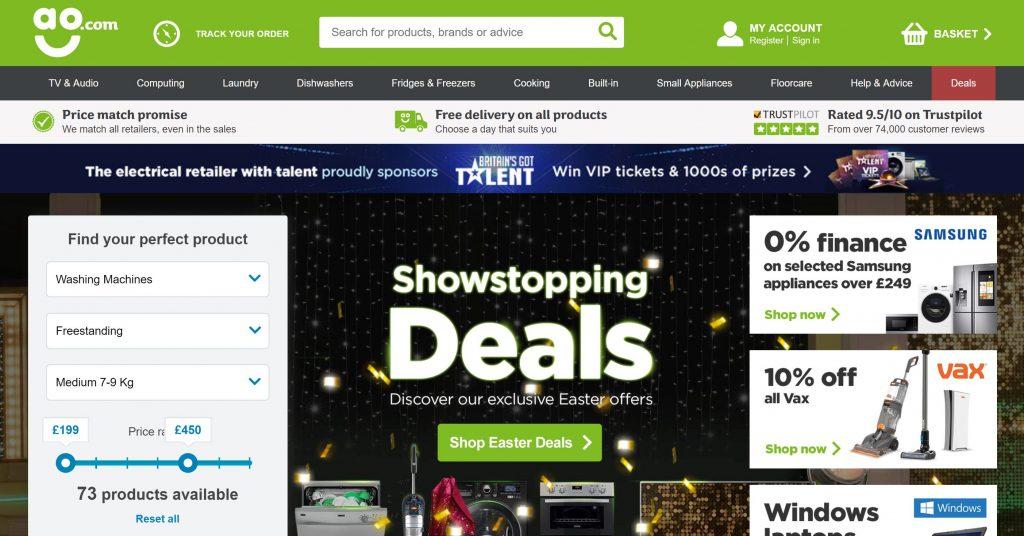 Image of AO.com homepage showing sponsorship of BGT