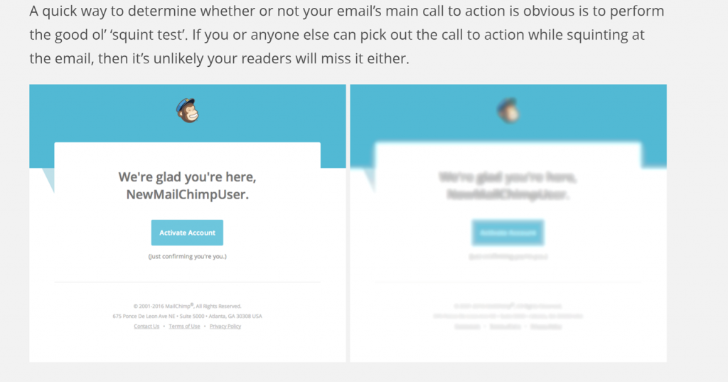 Image of squint test from mailchimp