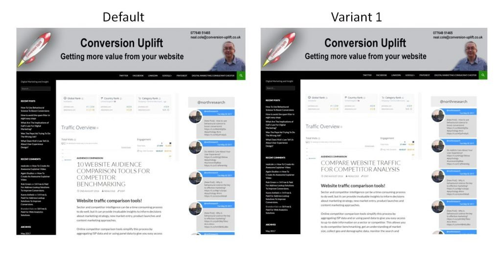 Image of heading A/B test from Conversion-uplift.co.uk
