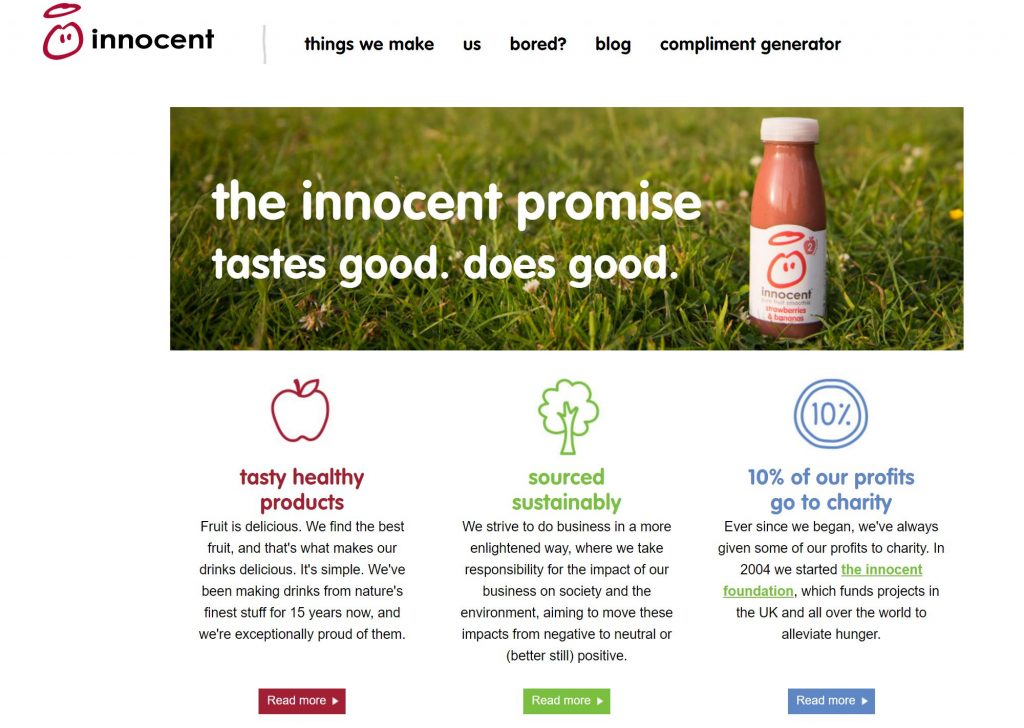 Innocent smoothies promise