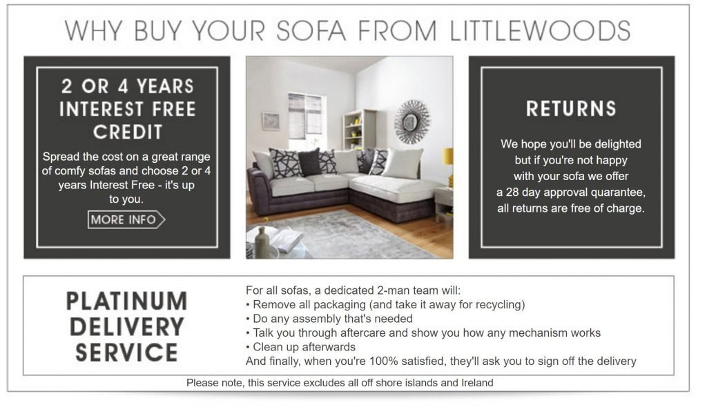 Image of spread the cost banner on Littlewoods.com