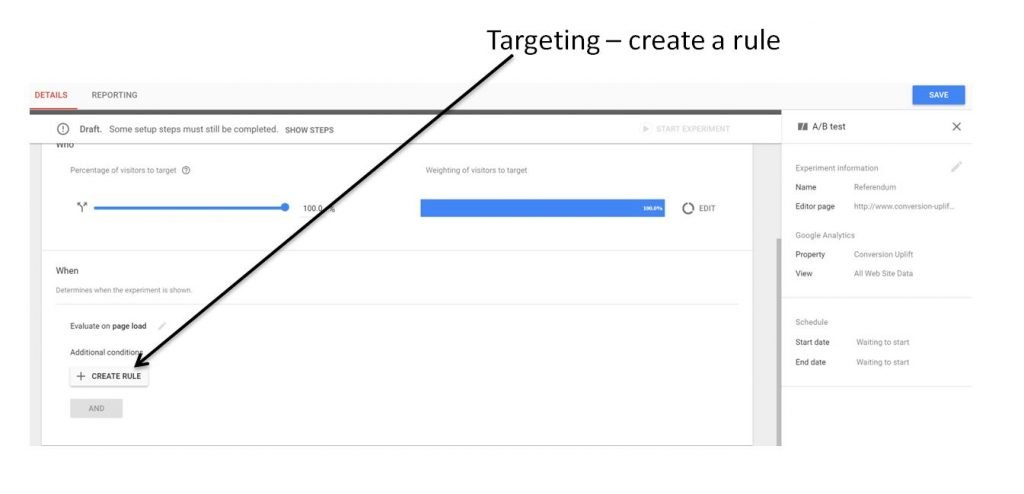 Image of how to create a rule in Google Optimize