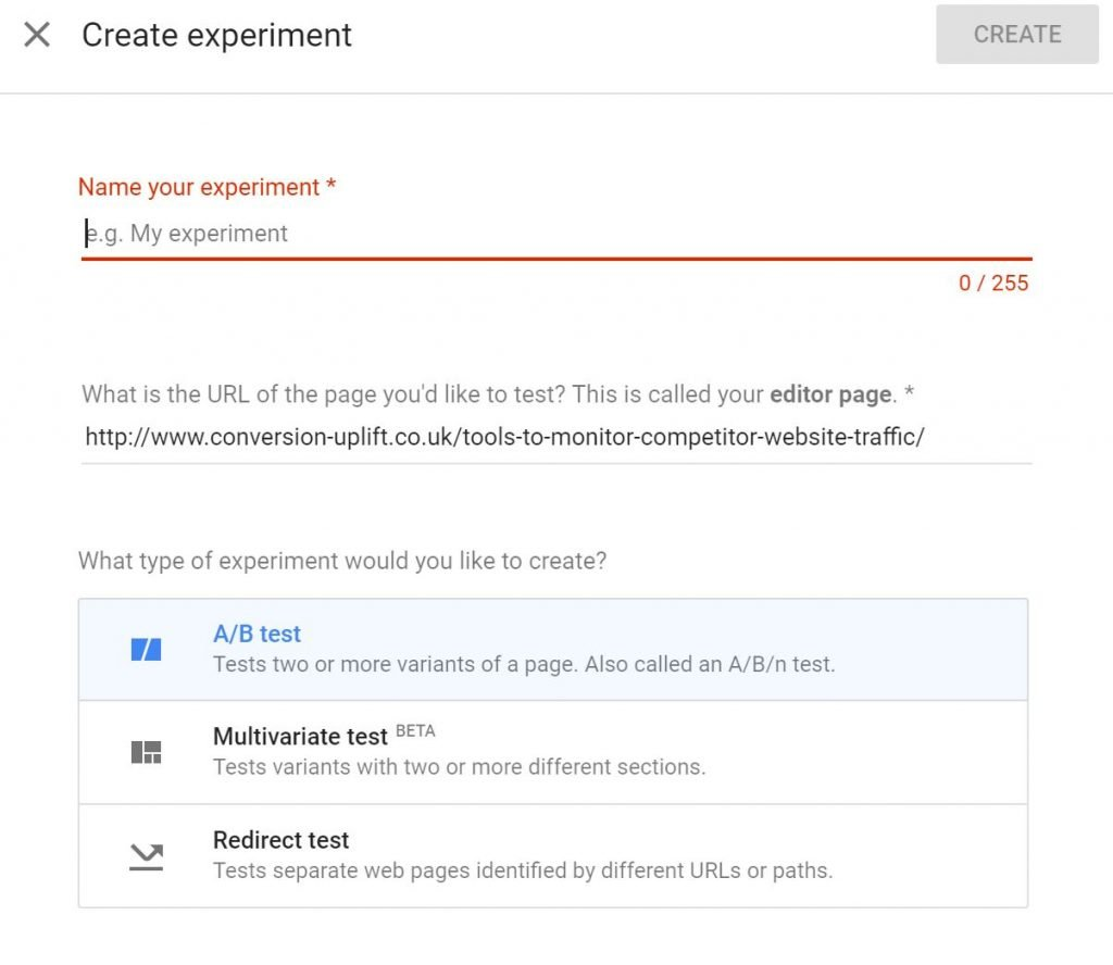 Image of types of experiments in Google Optimize