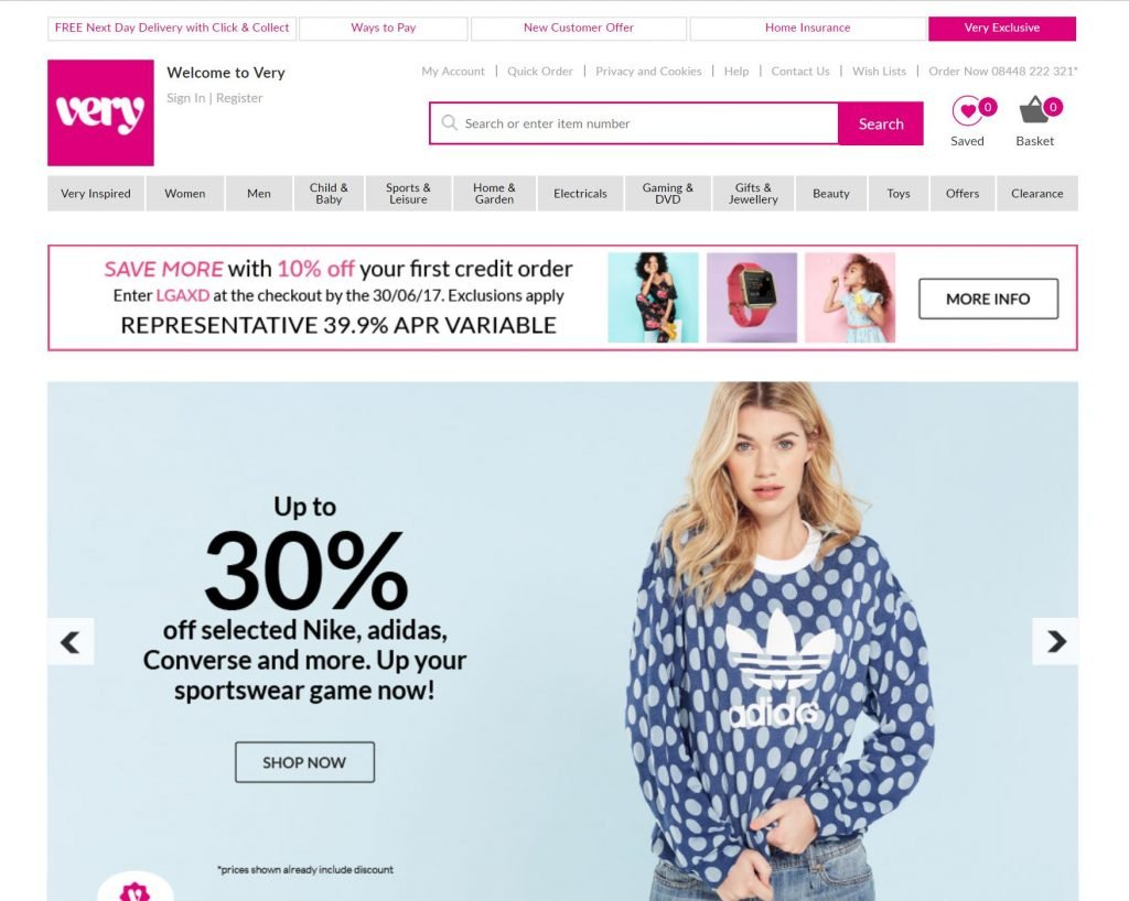 Image of Very.co.uk with homepage carousel