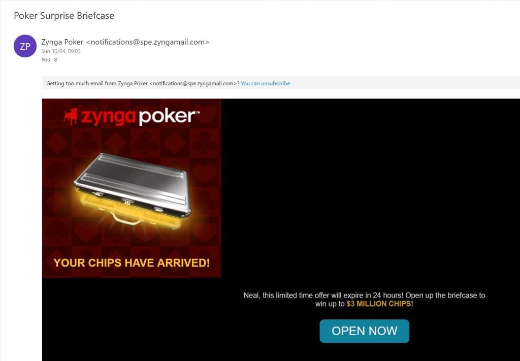 Image of email from Zynga.com to trigger user to sign in