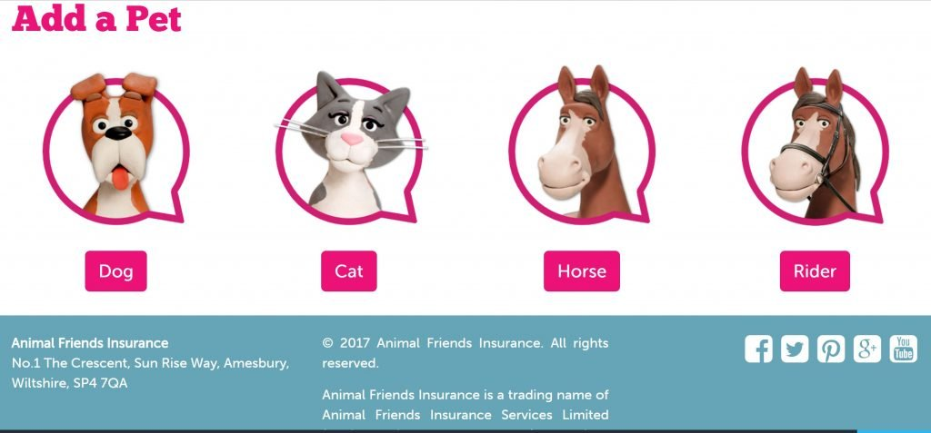 Image of form from Animalfriends.co.uk using characters to ask question