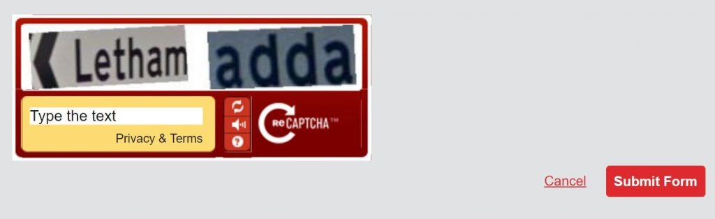 Image of CAPTCHA on wrexhamfc.co.uk