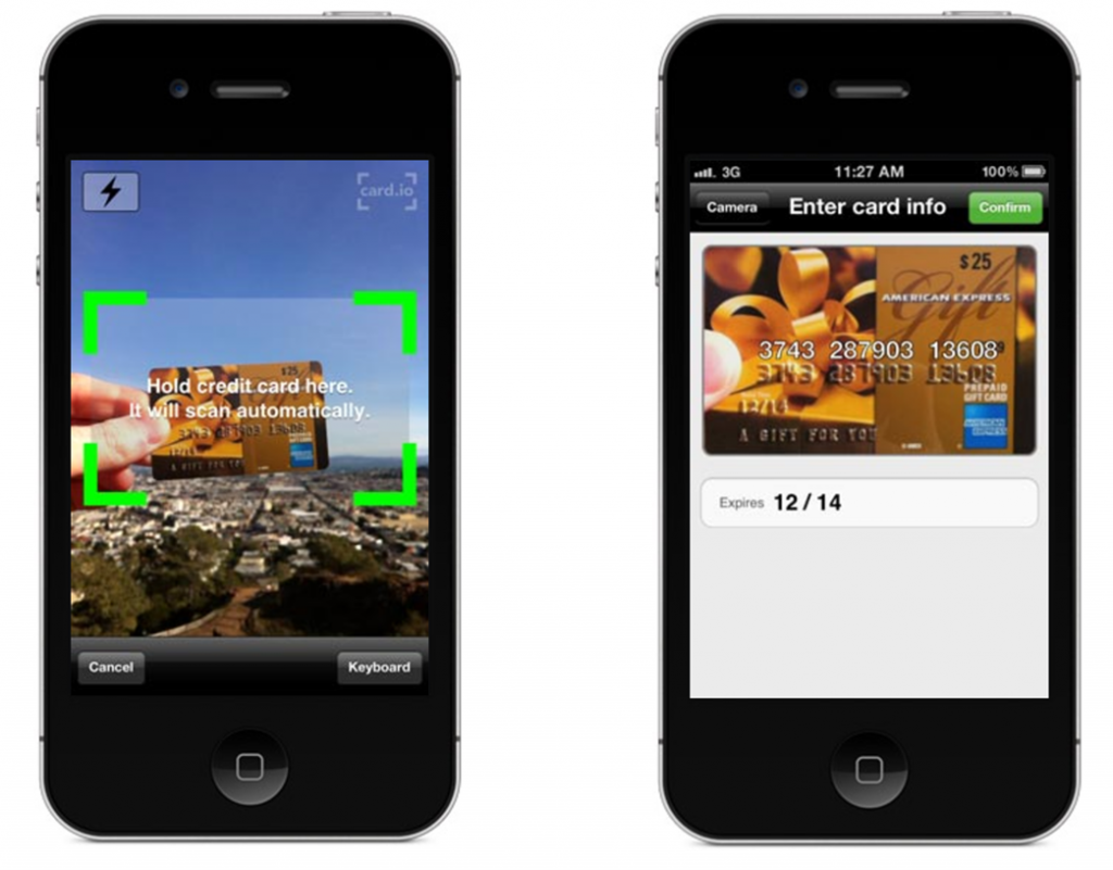 Image of how credit cards are scanned for mobile apps to reduce friction on web form