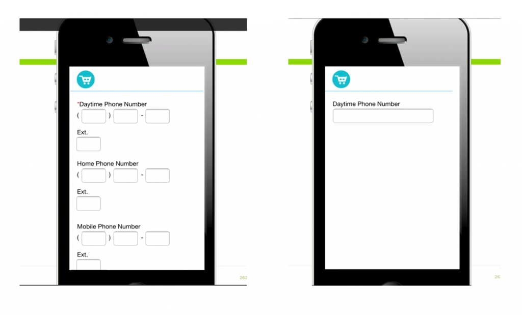 Image of how to condense multiple fields on a mobile form into a single field