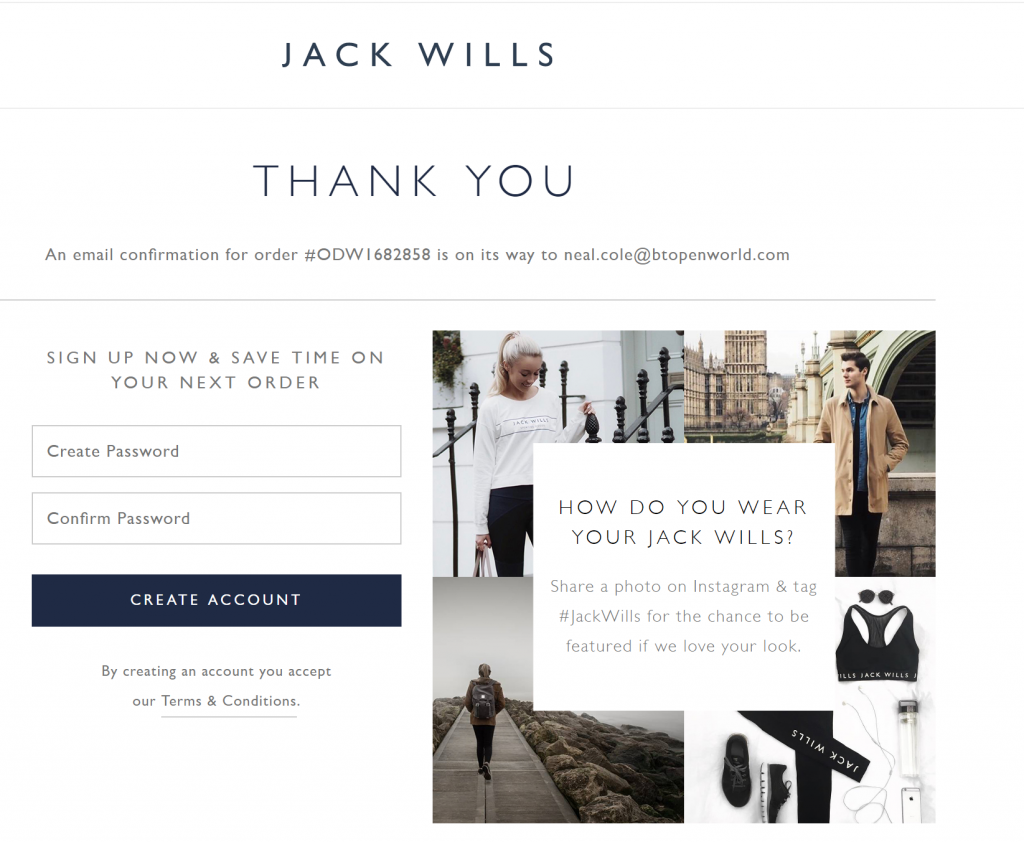 Image of Jackwills.com confirmation page which allows user to create account at this milestone