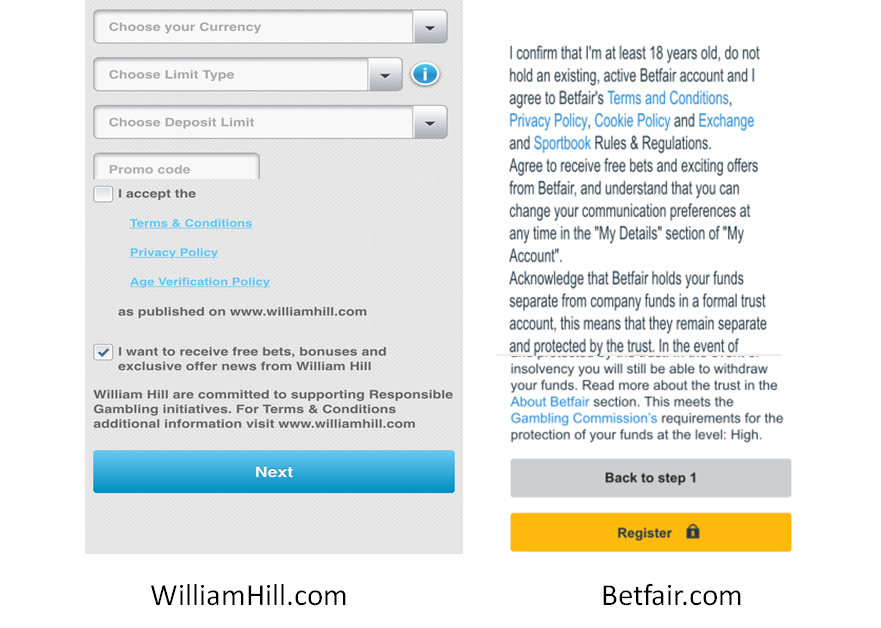 Image of legal messages from Williamhill.com and Betfair.com