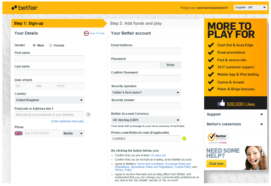 Image of live chat on Betfair.com registration form