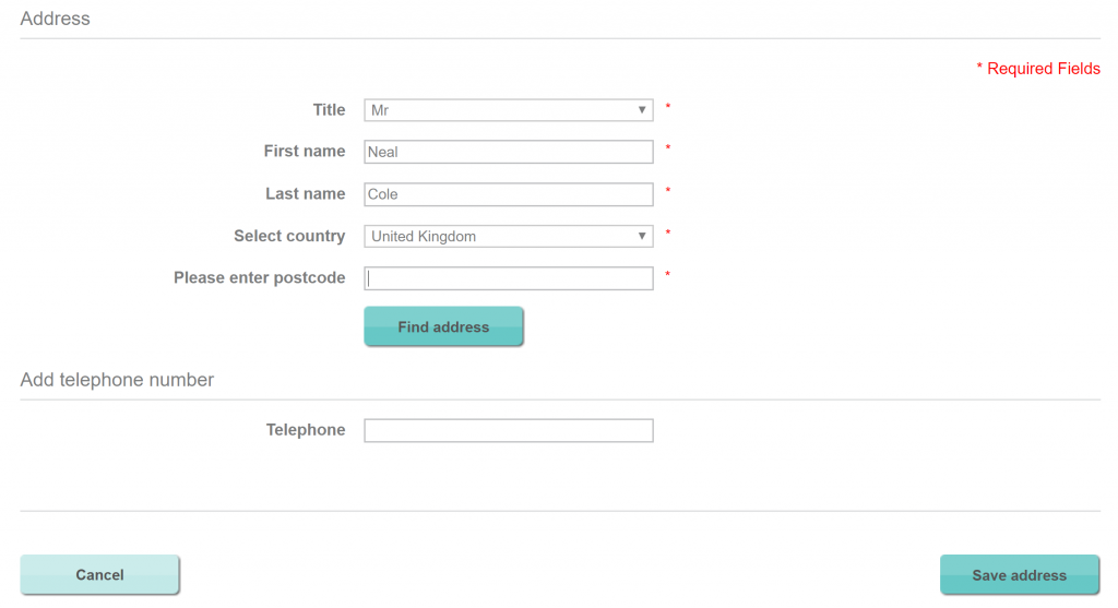 Image of registration form on Lizearle.com with cancel button
