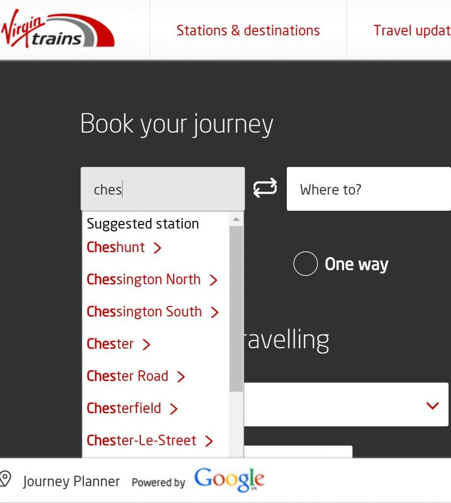 Image of predictive search for train station on virgintrains.co.uk