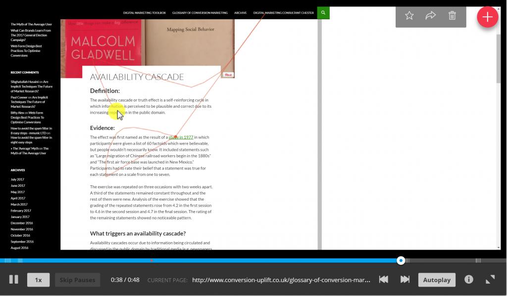 Image of Hotjar browser recording