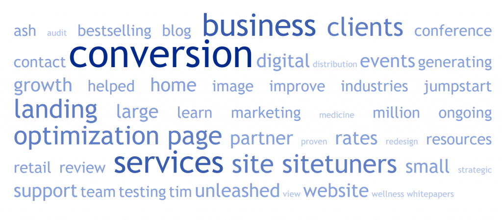Image of word cloud of sitetuners.com