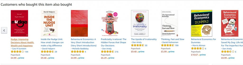 Image of Amazon recommendation results for customers who bought this
