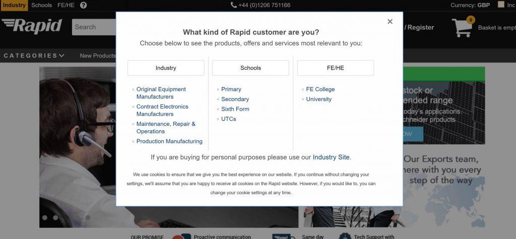 Image of customisation approach on Rapidonline.com