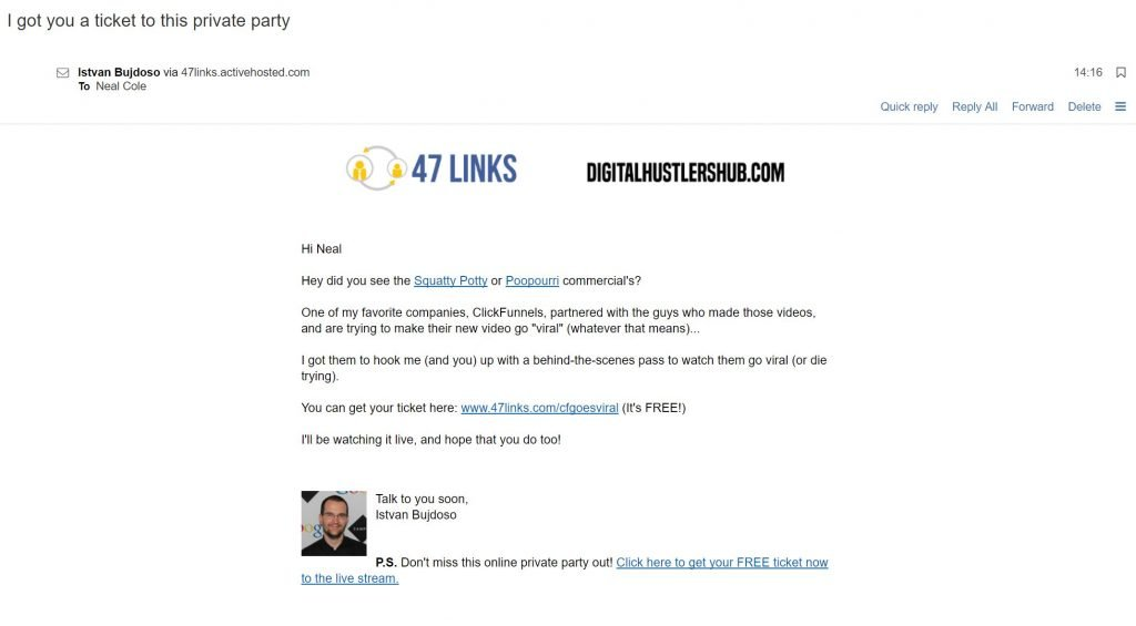 Image of personalised email from 47 Links