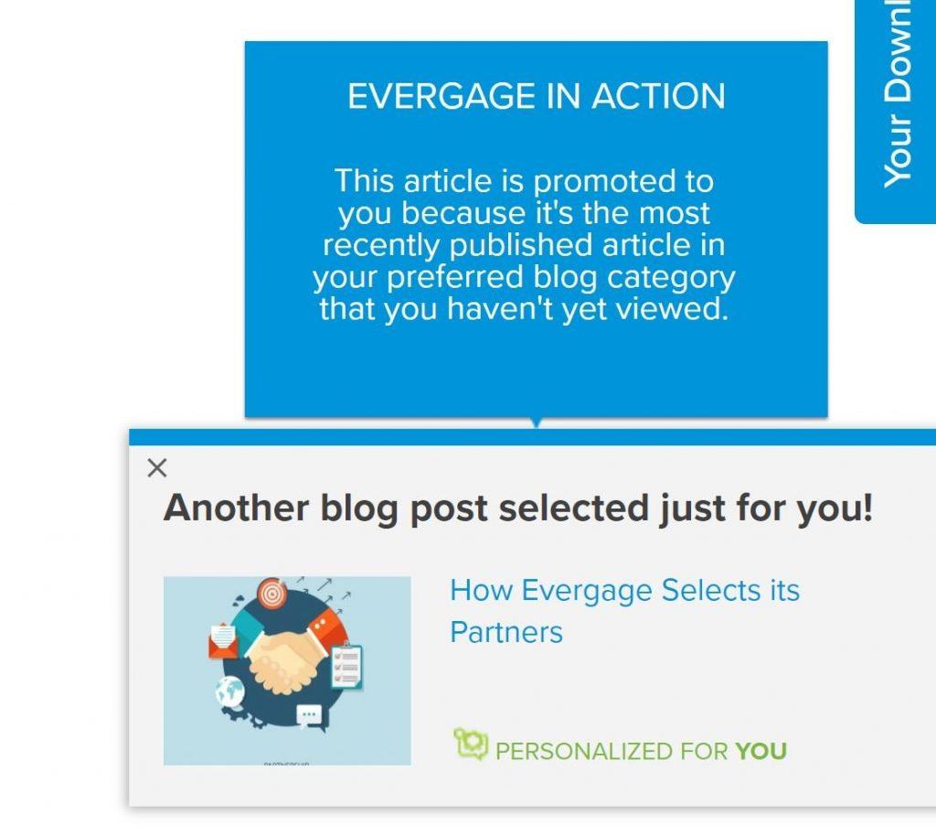Image of personalisation on Evergage.com