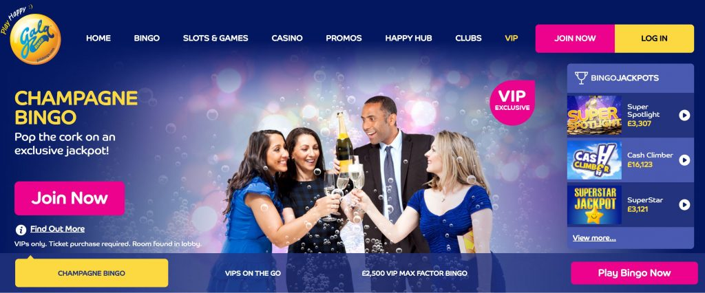Image of Gala Bingo VIP scheme page