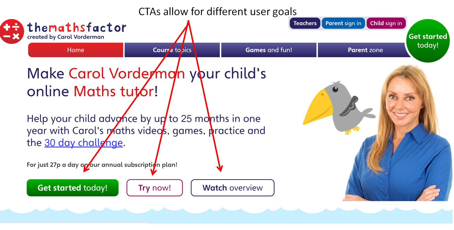 Image of Mathsfactor.com homepage with different CTAs for separate user goals
