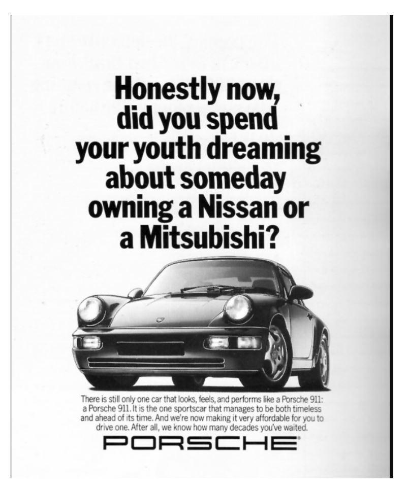 Porsche using the confirmation bias neuromarketing technique