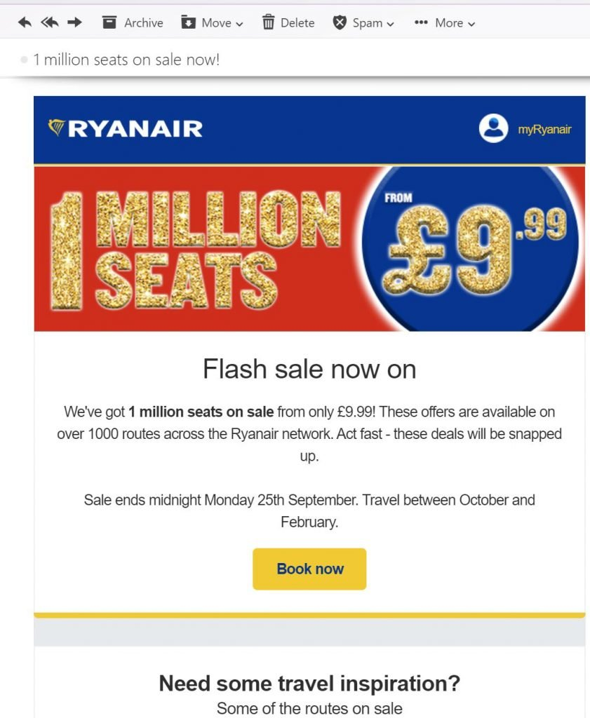 Image of flash sale from Ryanair.com