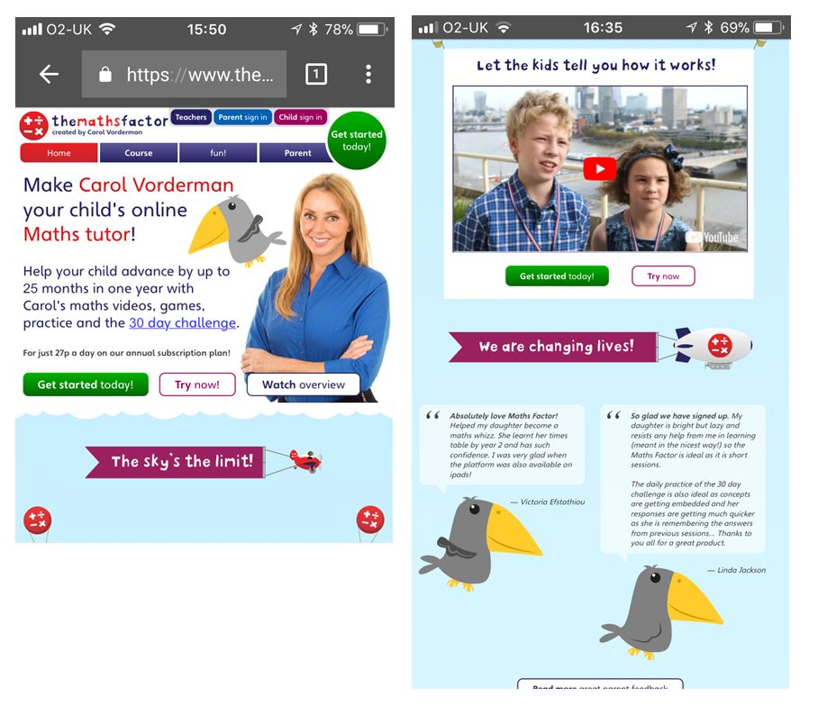 Themathsfactor.com mobile landing page uses a celebrity endorsement and testimonials to establish credibility