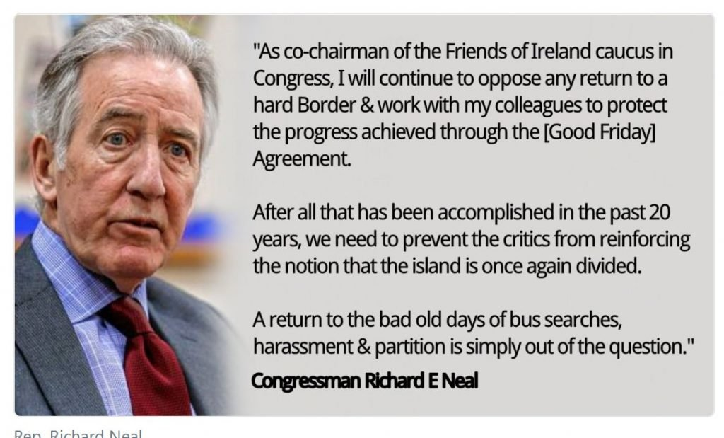 Image of US congressman commenting on Brexit and border with Republic of Ireland