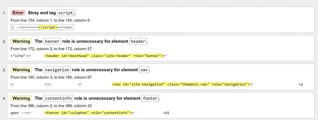 Image of HTML validator output