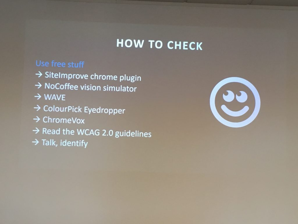 Image of ways of checking for accessibility on a website from Abi Hough
