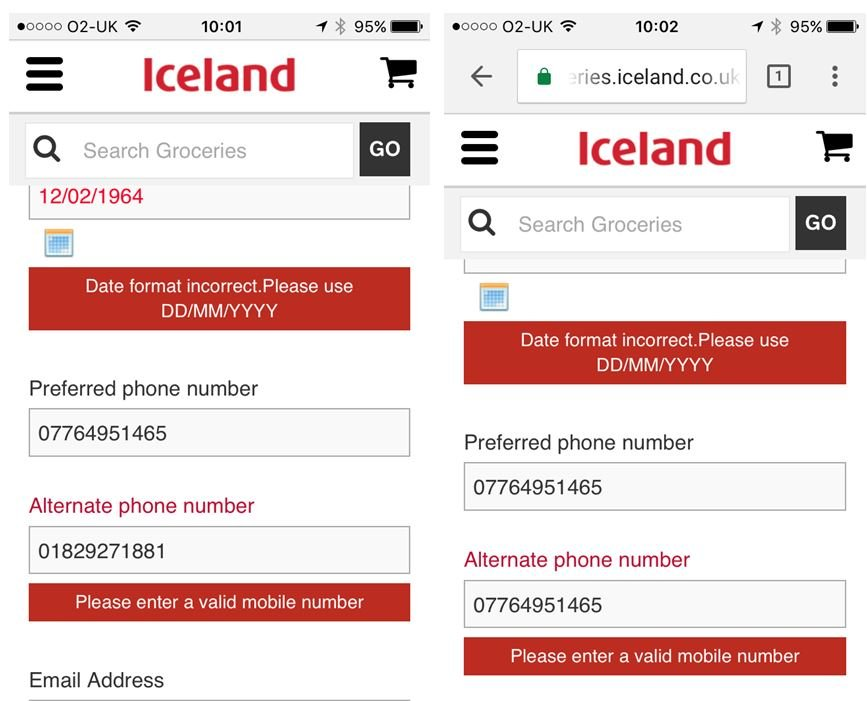 Image of Iceland Foods sign-up form with With errors on DOB and alternative telephone