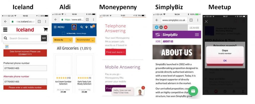 Mobile website user experience problems
