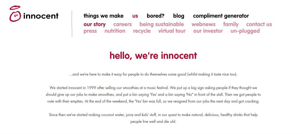 Innocent's brand story to help content marketing strategy