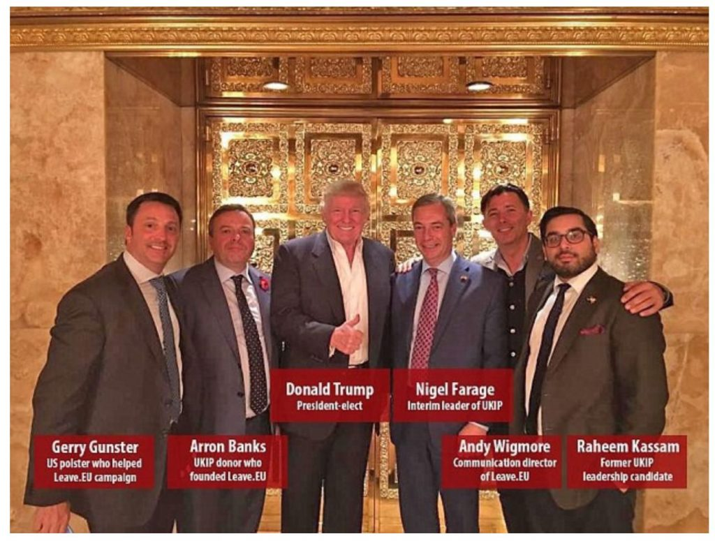 Image of Donald Trump with members of Leave.EU