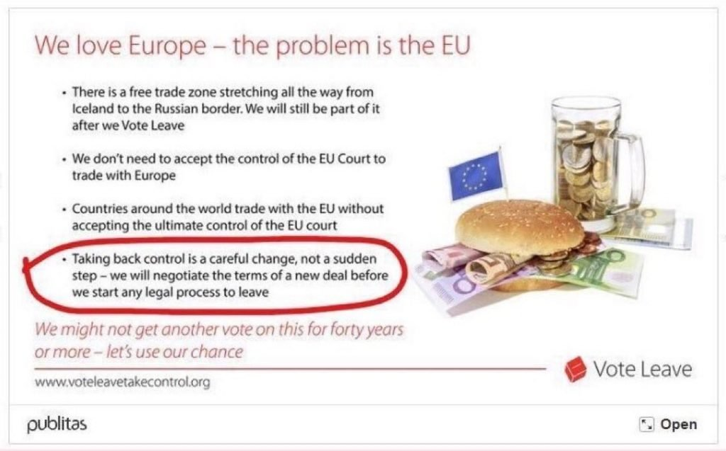 Vote Leave promise on a deal