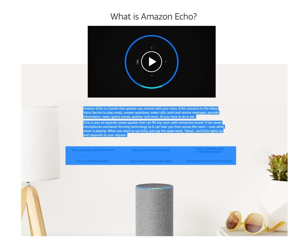 Amazon Echo uses a question to write engaging copy
