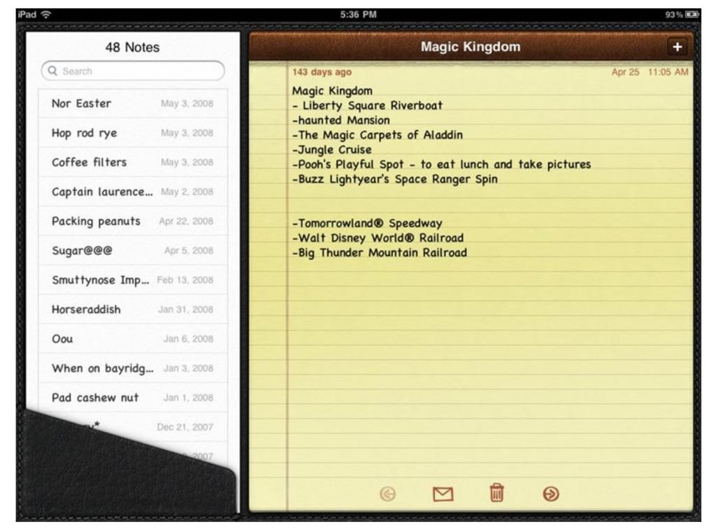 Skeuomorphism from Apple with iOS 4.2 iPad notepad