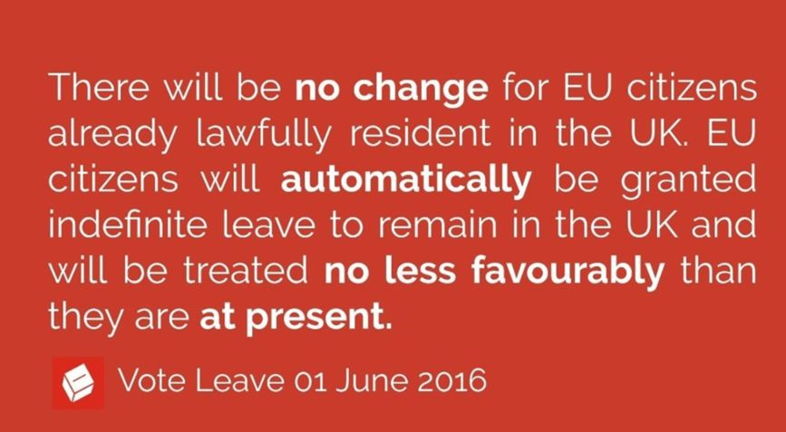 Vote Leave promise of no change in EU the status of EU citizens