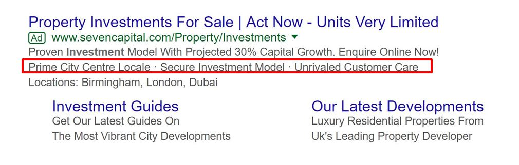 Ad for investment property with callout extensions